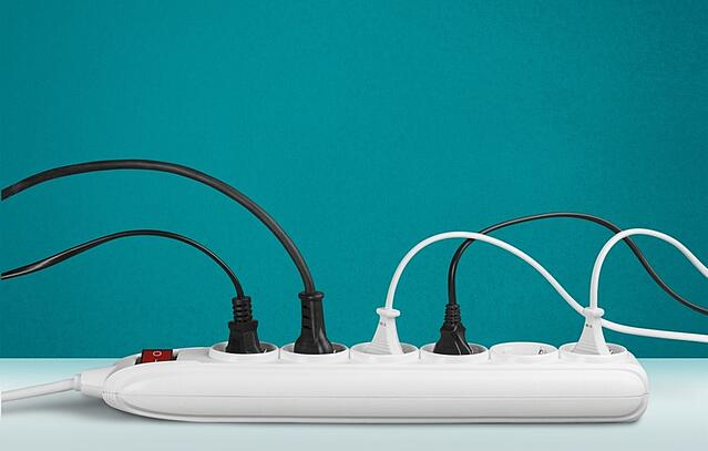 Powerstrip with chords plugged in