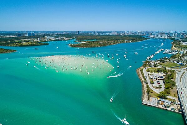 aerial image of haulover sandbar in miami