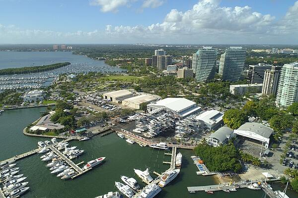 aerial image of marina in coconut grove miami