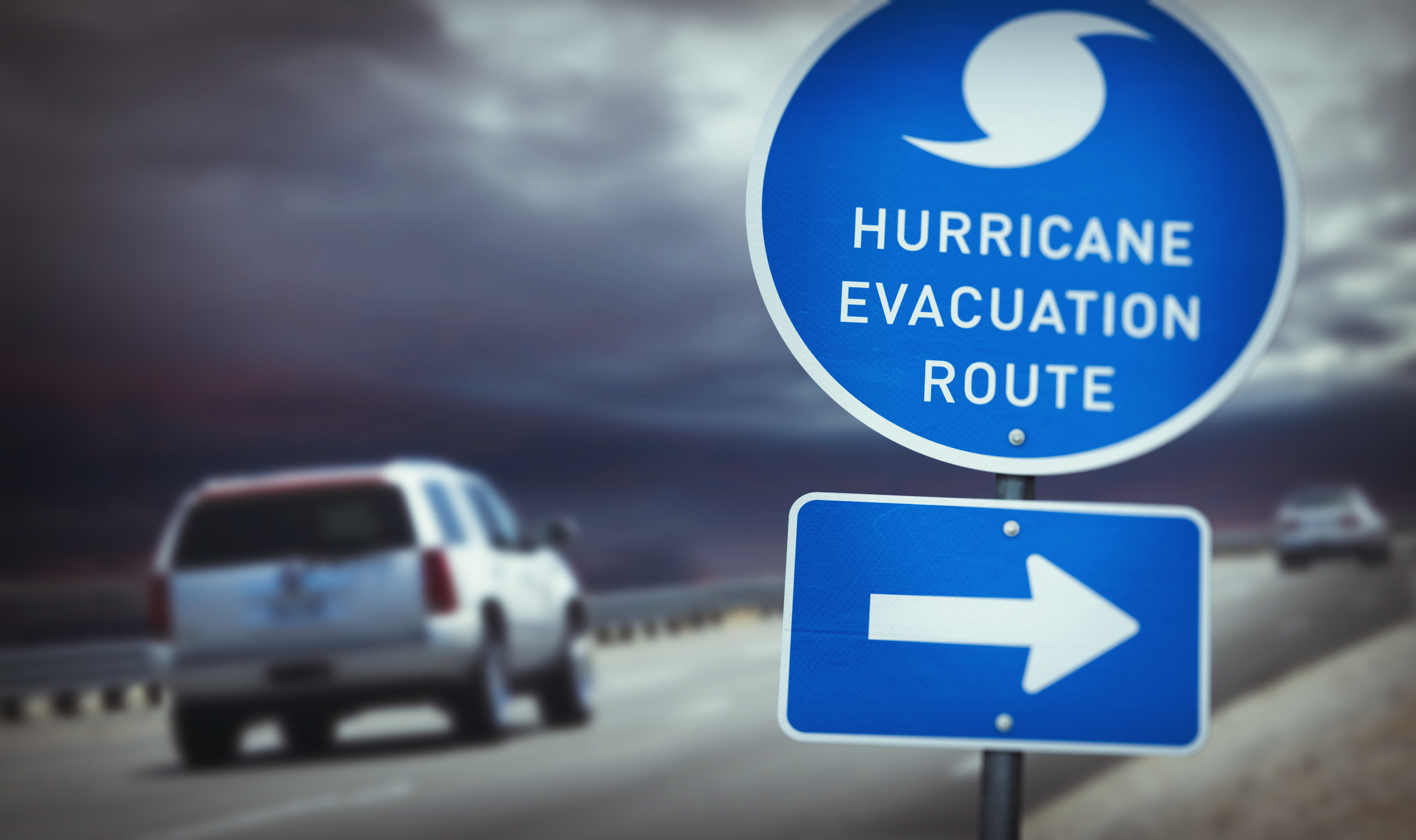 cars on hurricane evacuation route in florida