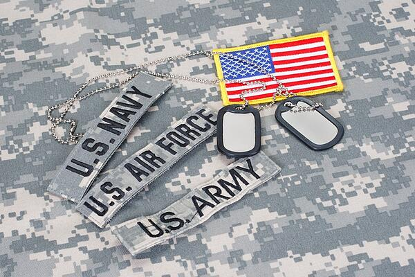 military dog tags and different service patches with flag
