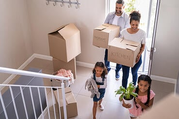 multiracial family moving