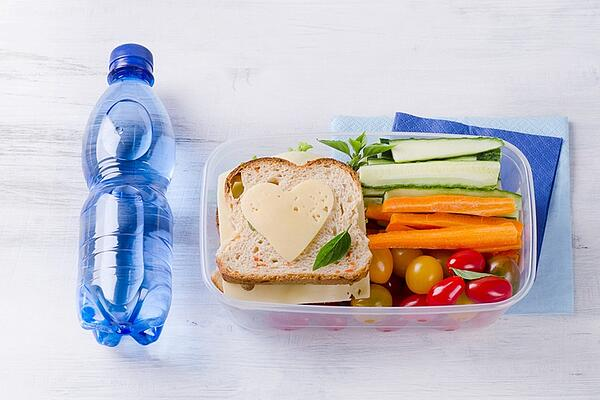 water and healthy snacks