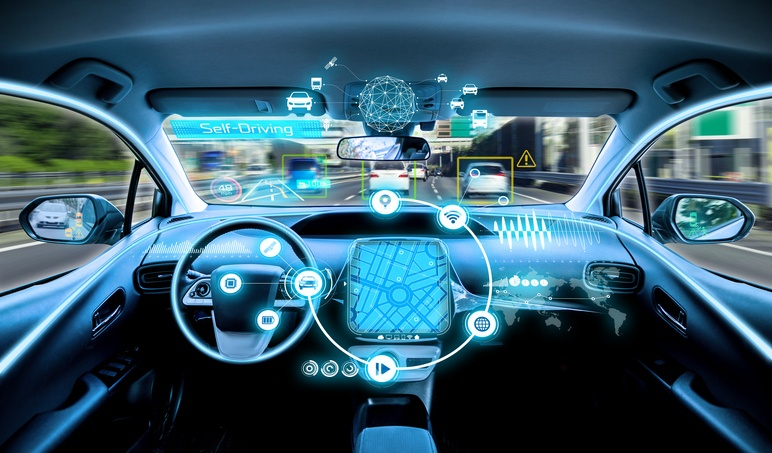 vehicle displaying new tech features